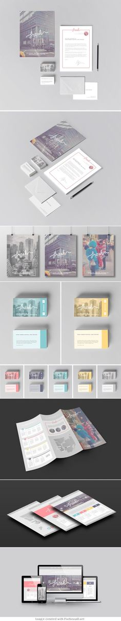 Fresh corporate business branding visual identity design card letter head brochure website poster