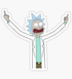 Rick flips off the world. Rick And Morty Drawing, Rick And Morty Tattoo, Rick And Morty Stickers, Rick And Morty Poster, Small Canvas Art, Bubble Stickers, Anime Stickers, Aesthetic Stickers, Street Art Graffiti