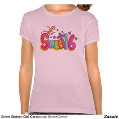 47e713c7 Sweet Sixteen Girl Cartoon Tee Shirts Shirt Print Design, Shirt Designs,  Girl Cartoon,