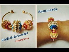 Stylish bracelet -How to make bracelet Silk Thread Bangles Design, Silk Bangles, Thread Jewellery, Jewellery Bracelets, Diy Jewellery, Fashion Jewellery, Jewelry Making, Handmade Rakhi Designs, Handmade Necklaces