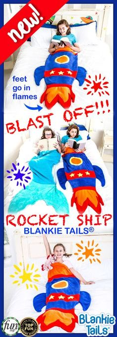 Let your child's imagination take flight in Blankie Tails® NEW Rocket Blanket! Blankie Tails® are made from premium-grade, double-sided minky fabric with embellishments that will make any child feel adventurous while they are lounging about. Makes a great gift!
