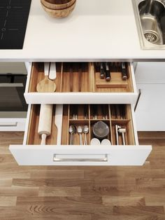 Open Counter Level Drawer Revealing Hidden Cutlery Both With Bamboo Organisers Ikea