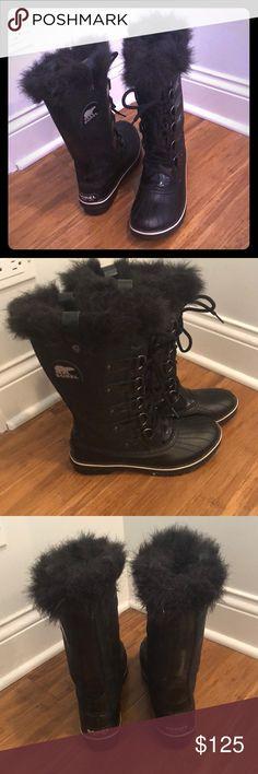 Genuine glitter black Sorel Torino Waterproof, 9W Genuine glitter black Sorel Torino Waterproof winter boots, 9 Womens, lightly worn, slight splash marks on upper glitter shaft, no tags Sorel Shoes Winter & Rain Boots