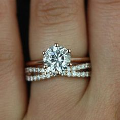 4 prong solitaire with band - Google Search                                                                                                                                                      More
