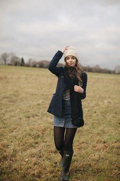winter, walk, bobble hat, knit, denim skirt, duffle coat, fashion, wellies