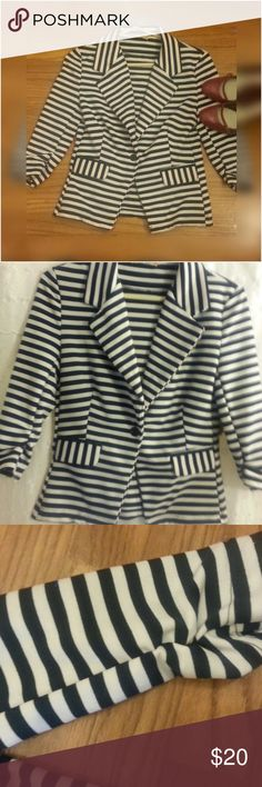 Ladies Dress Jacket Navy blue and white striped jacket with button front.  2 decorative pockets.  Gathered detail on sleeves. love change  Jackets & Coats Blazers