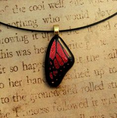Mini Monarch Butterfly Wing Fused Glass Pendant.