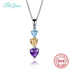 l&zuan Heart Amethyst Topaz Necklaces & Pendants Genuine Silver 925 Jewelry Charms Engagement Choker Necklace Wedding Jewelry