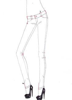 How to draw Skinny jeans step 5