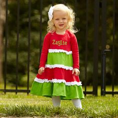 Girls Personalized Red & Green White Squinchy Long Sleeve Dress – Lolly Wolly Doodle