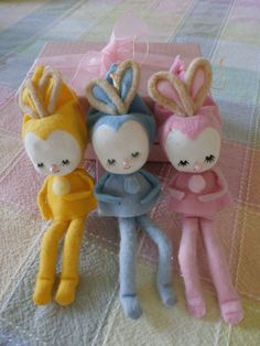 Vintage Pixies Elves Easter Bunnies Made in Japan