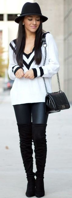 summer outfits Black Hat + White Printed Knit + Black OTK Boots