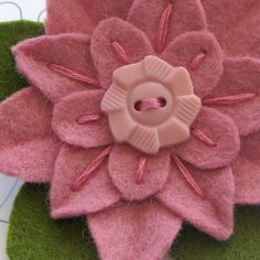 felt flower pin with vintage button