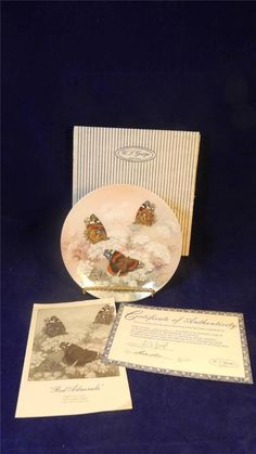 1989 W.S. George Lena Liu Red Admirals Butterflies On Gossamer Wings Plate MINT / $32 inc shipping