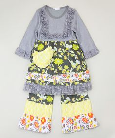 Look at this Gray Floral Lace Tunic & Pants - Infant, Toddler & Girls on #zulily today!