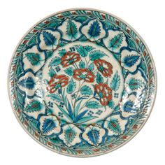 Dutch Charger with Iznik Style Decoration, 19th Century | From a unique collection of antique and modern pottery at http://www.1stdibs.com/furniture/dining-entertaining/pottery/