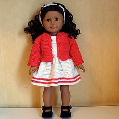 Ravelry: PDF Crochet Pattern - Dress, Cardigan and Hairband to American Girl Doll or similar 18 inch Doll pattern by Susanne Fågelberg