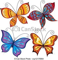 Illustration about Decorative butterflies on white background. Illustration of waving, insects, collection - 19298410