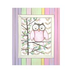 "pink owl print in weathered striped frame 16""x20""- woodlands room- kids decor"
