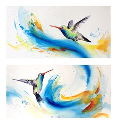 Hummingbirds watercolor. Bethany Cannon Art Studios   Hummingbirds Pair  . www.bcartstudios.com