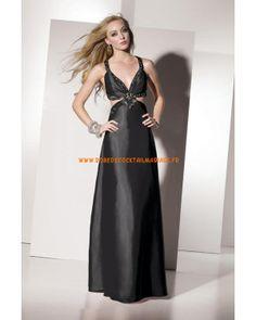 Belle robe glamour noire pas cher col en V décorée de cristaux robe de soirée satin stretch