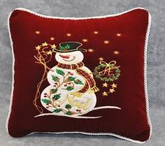 Christmas Snowman Embroidered Pillow Made w Burgundy Velvet Fabric Trim Cord | eBay