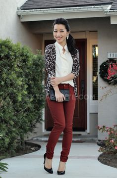 Burgundy jeans, white silk blouse and printed cardigan. Love it.