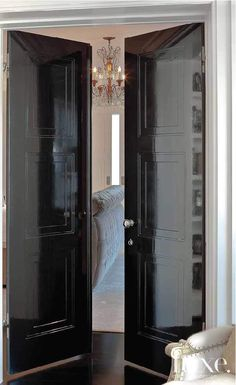 Paint Trend Your Home Is Missing Black is in, especially on interior doors. This high gloss example is stunning.Black is in, especially on interior doors. This high gloss example is stunning. Door Design, House Design, Bedroom Doors, Master Bedroom, Master Suite, Interior Design Magazine, Black Doors, Home Fashion, Windows And Doors