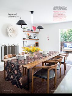 Simple dining room with Moroccan elements