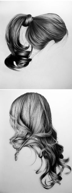 I can't even make my real hair look like this, let alone draw hair that looks like this! Upswept, long n' flowing, twists & braids…. these gorgeous hair studies are mixed media drawings on canvas by New York based artist Brittany Schall