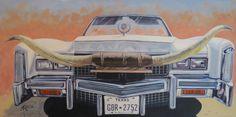 Texas Longhorn 24 x acrylic on canvas artist Anita Klein Western Theme, Western Art, Equine Art, Canadian Artists, Westerns, Texas, Image, Paintings, Canvas