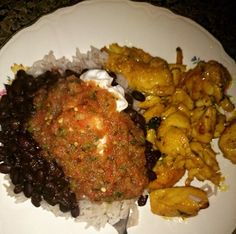 Homemade black beans and rice, sautéed chicken with Susi Spice Salsa