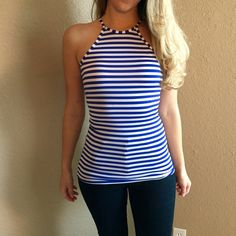 Blue & White Striped Racerback Top RESTOCKED! Blue and White striped Racerback tank. Brand new. Never worn. No flaws. Available in S-M-L. Bundle for 10% off. No Paypal. No trades. No offers will be considered unless you use the make me an offer feature.     Please follow  Instagram: BossyJoc3y  Blog: www.bossyjocey.com Tops Tank Tops