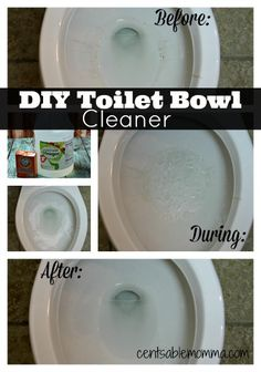 Clean your toilet bowl naturally with only 2 ingredients you likely already have around the house. 1 cup of distilled vinegar, 1 cup baking soda, and a toilet brush. Homemade Cleaning Products, Cleaning Recipes, House Cleaning Tips, Natural Cleaning Products, Cleaning Hacks, Cleaning Items, Green Cleaning, Spring Cleaning, Toilet Cleaning