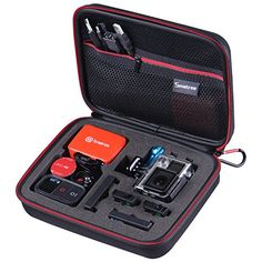 """Smatree® SmaCase G160 EVA transport et Voyage Housses (8.6 """"X6.7"""" X2.7 """") avec mousse pour GoPro® Hero 4, Hero 3+, Hero 3, Hero 2 HD,et sj4000 caméscope appareil photo et d'accessoires Essentiels-Noir et Rouge Smatree http://www.amazon.fr/dp/B00J9CVTJQ/ref=cm_sw_r_pi_dp_9EpWub0236DDK"""