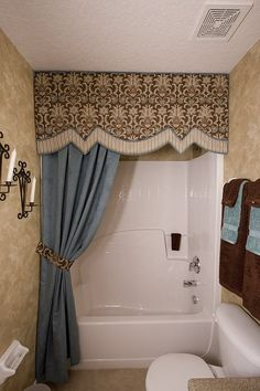An elegant look from Custom Window Treatments Interior Decorator Bella Casa… Drapes Curtains, Drapery, Shower Curtains, Curtain Designs, Curtain Ideas, Luxury Rooms, Custom Window Treatments, Beautiful Bathrooms, My New Room