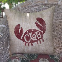 Crab Burlap Pillow now featured on Fab.