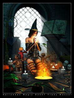 Happy Halloween everybody! The magical witch is Ishae from F-U Vendor: Shattered-Elegance/JoJo Product Name: Ishae For V4.1 Available at: Fantasies-Unleashed Used toolchain: Poser 6/7 -> interPO...