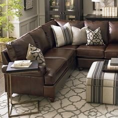 american casual montague large lshaped sectional leather sofabrown - Sectional Leather Sofas