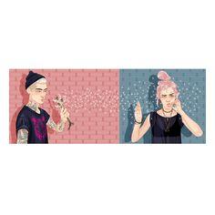 Dandelion Couple - Charity Gums #illustration #digitalart #digitalillustration #ilustracao #dandelion #charitygums #marceloalmeida #marceloalmeidaillustrations