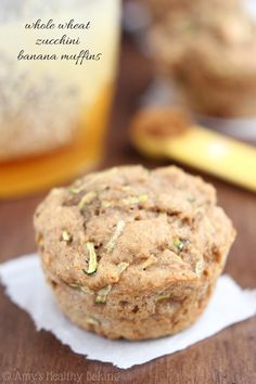Whole Wheat Zucchini Banana Muffins -- an easy healthy breakfast recipe! {clean-eating}