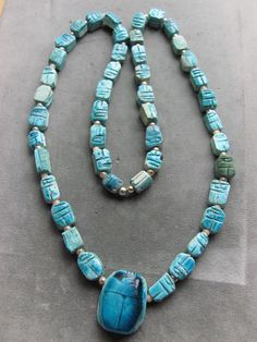 Vintage Turquoise Egyptian Faience Bead Scarab Bug Bettle Bead Necklace