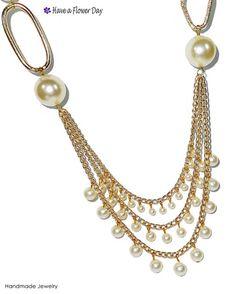 Collar perlas con vueltas y cadena dorada. Collar cadena. Collar dorado. Collar perlas. Collar novia. Collar dama honor. Día de la madre.