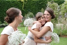 Cute hair style for the maids?  Romantic Grey and Pink Wedding at Gaynes Park | Bridal Musings