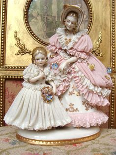 Wonderful early Dresden figurine mother and girl.