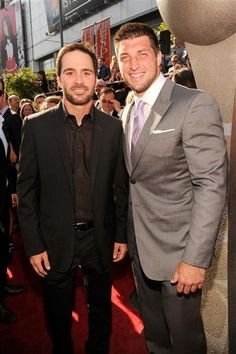 2012 ESPY Awards, Professional racing driver Jimmie Johnson and NFL player Tim Tebow of the New York Jets arrive at the Awards.