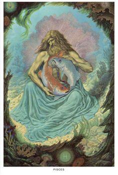 Johfra: Images of the Zodiac, Virgin to Pisces - Constellar Astrology Zodiac Art, Astrology Zodiac, Zodiac Signs, Pisces Horoscope, Art Zodiaque, Tarot, Esoteric Art, Mystique, Illustration