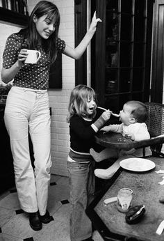 A quite different family, the lovely Jane Birkin with children Charlotte and Kate.