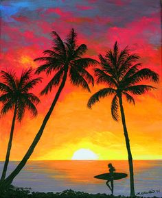 Tropical Sunset Surfer Print by Amy Scholten. All prints are professionally printed, packaged, and shipped within 3 - 4 business days. Choose from multiple sizes and hundreds of frame and mat options. Sunrise Painting, Beach Sunset Painting, Drawing Sunset, Sunset Acrylic Painting, Painting Abstract, Easy Landscape Paintings, Easy Nature Paintings, Foto Poster, Sunset Art