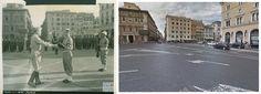 La bandiera che sventolava sopra la 'Casa Bianca' sul Giorno di Pearl Harbor è sollevata a Roma, Il maggiore generale Harry H. Johnson, presenta i colori a #PiazzaVenezia. #Roma, Italia. #luglio1944